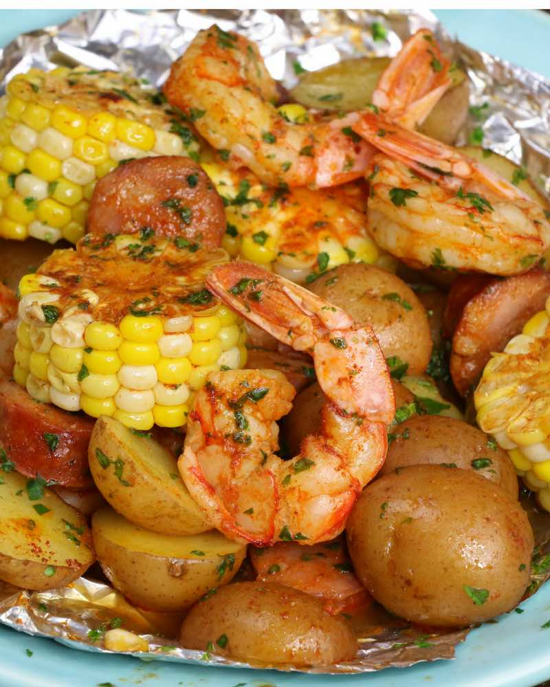 Shrimp Boil with Shrimp, Potatoes, Corn on the Cob & Sausage