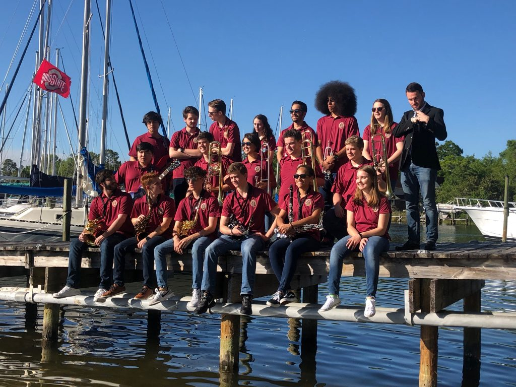 Members of the 2019 Niceville High School Jazz Band pose on the dock at Bluewater Bay Marina after their 2019 Jazz Band Performance.