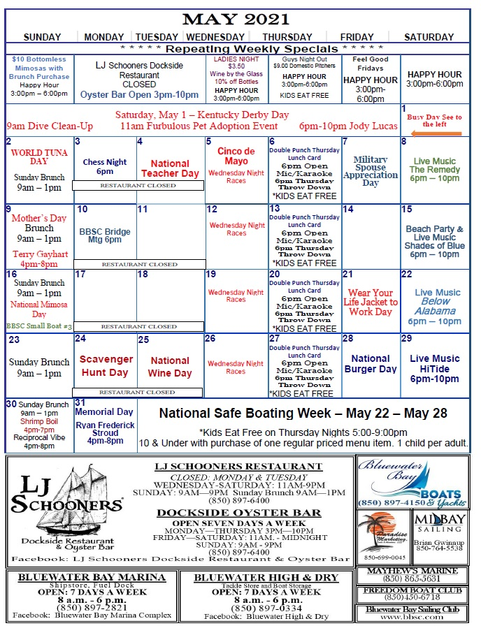 Copy of May 2021 Marina Activity Calendar for ease of printing