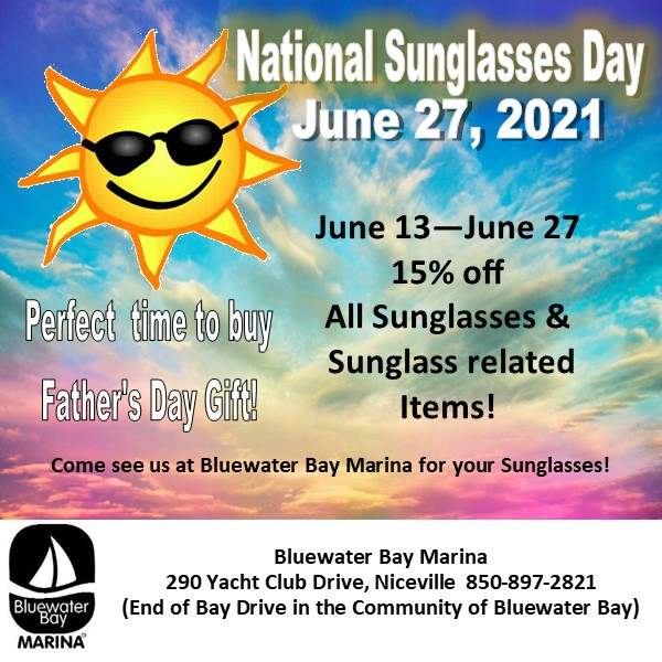National Sunglasses Day June 27, 15% off sale June 13 - 27
