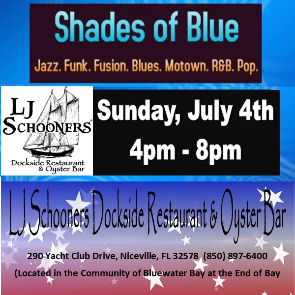July 4th Shades of Blue Music Advertisement