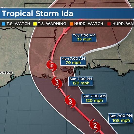 Tropical Storm Ida Projection